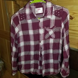 Maroon Justice long sleeve button up